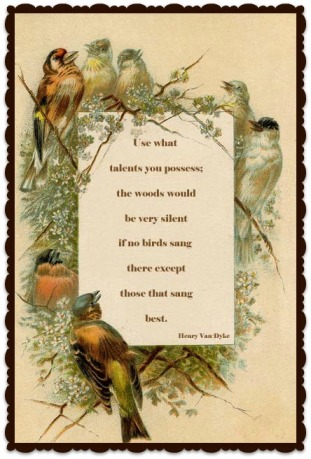Van Dyke Quote with bird frame