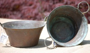 copper round pots with two handles