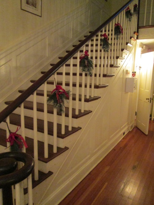 A few greenery picks from Michael's up the stair railing.